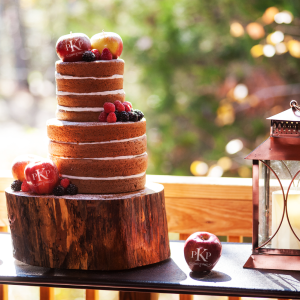 Naked Wedding Cake with Monogrammed Fun to Eat Fruit