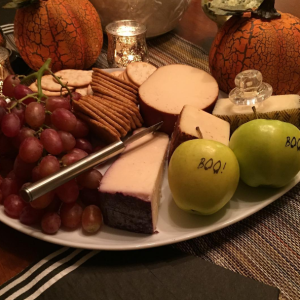 Cheese and fruit platter with Halloween Fun to Eat Fruit