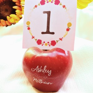 Fun to Eat Fruit Apple Table Number Wedding Reception