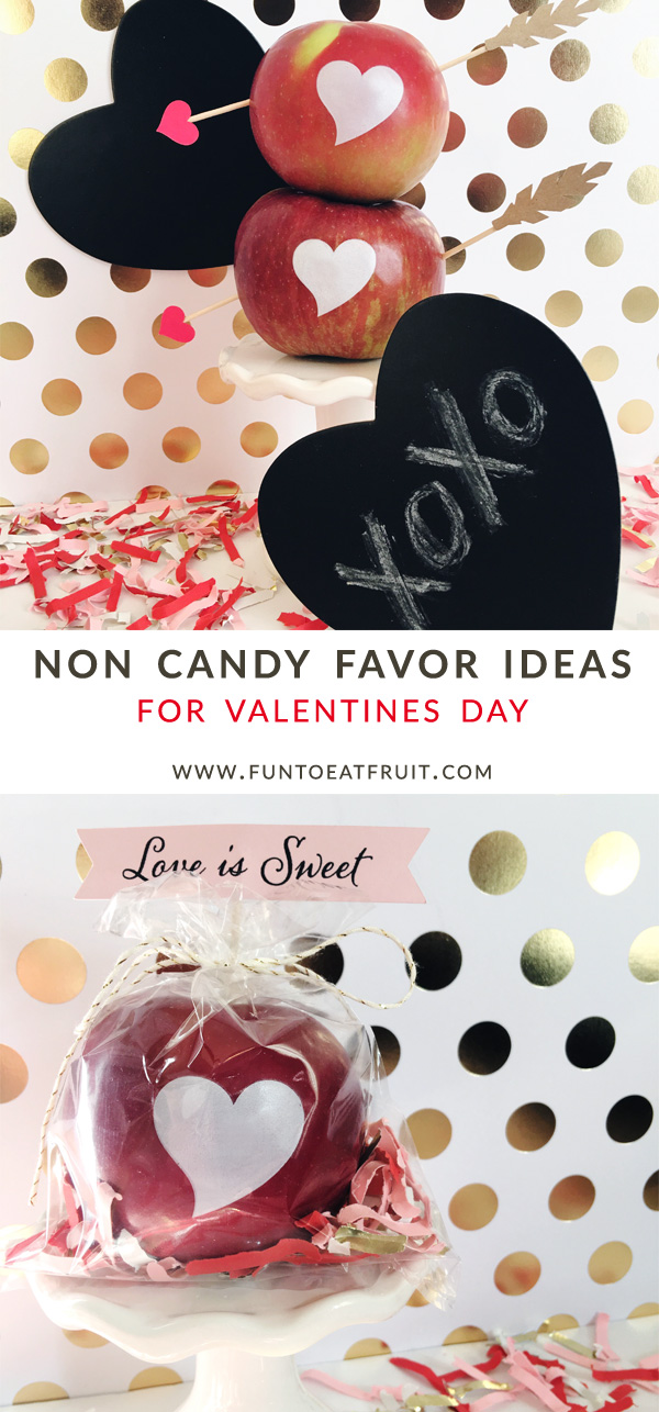 Valentines Day is the best day to give a unique, fun, healthy, non candy treat! At Fun to Eat Fruit, we're all about the non-candy alternatives! Click to see details. www.funtoeatfruit.com. Toppers by Go Against the Grain; confetti by Festive Fetti; photo of Love is Sweet apples by Weddingsites. #favors #favorideas #monogrammed #noncandy #ValentinesDay #valentinesdaygiftidea #ediblefavors