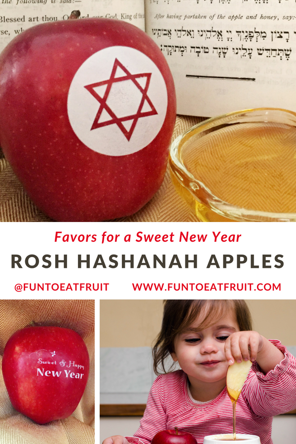 For a lovely way to wish family and friends a sweet Jewish New Year, surprise them with Fun to Eat Fruit Rosh Hashanah apple favors! Choose from 2 edible, Judaic designs! We ship the apples washed, imprinted and ready-to-enjoy! www.funtoeatfruit.com #RoshHashanah #RoshHashana #Jewish #Apples #Favors #JewishFood #Sukkot