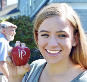 Fun to Eat Fruit apples featuring the Franklin Pierce Univ. logo loved by students. www.funtoeatfruit.com