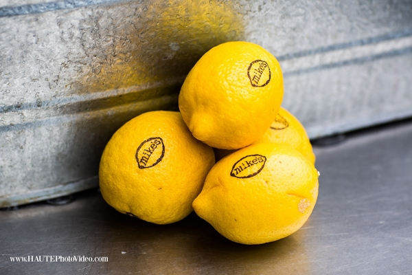 Trio of Fun to Eat Fruit branded lemons for Mike's Hard Lemonade garnish