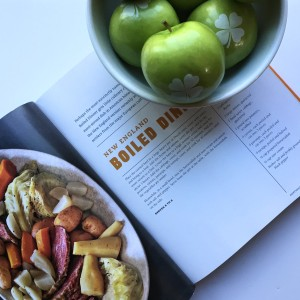 New England Boiled Dinner recipe from Big American Cookbook by Batali. Shamrock granny smith apples by Fun to Eat Fruit for St. Patrick's Day.
