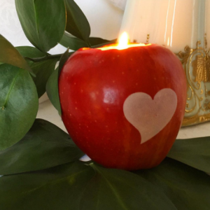 Apple candle holder with imprinted Fun to Eat Fruit