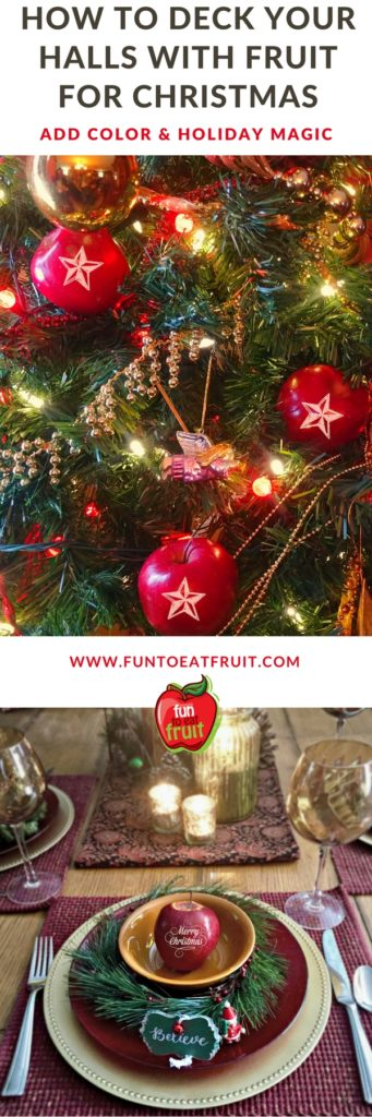 Deck your halls with fresh fruit for Christmas! Click to see photos of how we deck our halls with personalized Fun to Eat Fruit for Christmas. We imprint fruit with your favorite holiday symbols and sayings. And, as an added feature, our imprints are edible. For info and more ideas: www.funtoeatfruit.com #christmasfood #Christmasstyle #christmasdecorations #christmasdecoratingideas #personalizedgifts