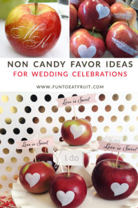 When it comes toweddings, we have you covered with our very popular monogrammed apples and apples with hearts! At Fun to Eat Fruit, we're all about the non-candy, edible wedding favors. Click to see details about these favors and more creative, healthy, non candy treat and favor ideas. As seen on Fun to Eat Fruit www.funtoeatfruit.com. Flag toppers by Go Against the Grain; confetti by @Festivefetti; photo of Love is Sweet apples by @Weddingsites. #favors #favorideas #monogrammed #noncandy #weddingideas #weddingfavors #edibleweddingfavors