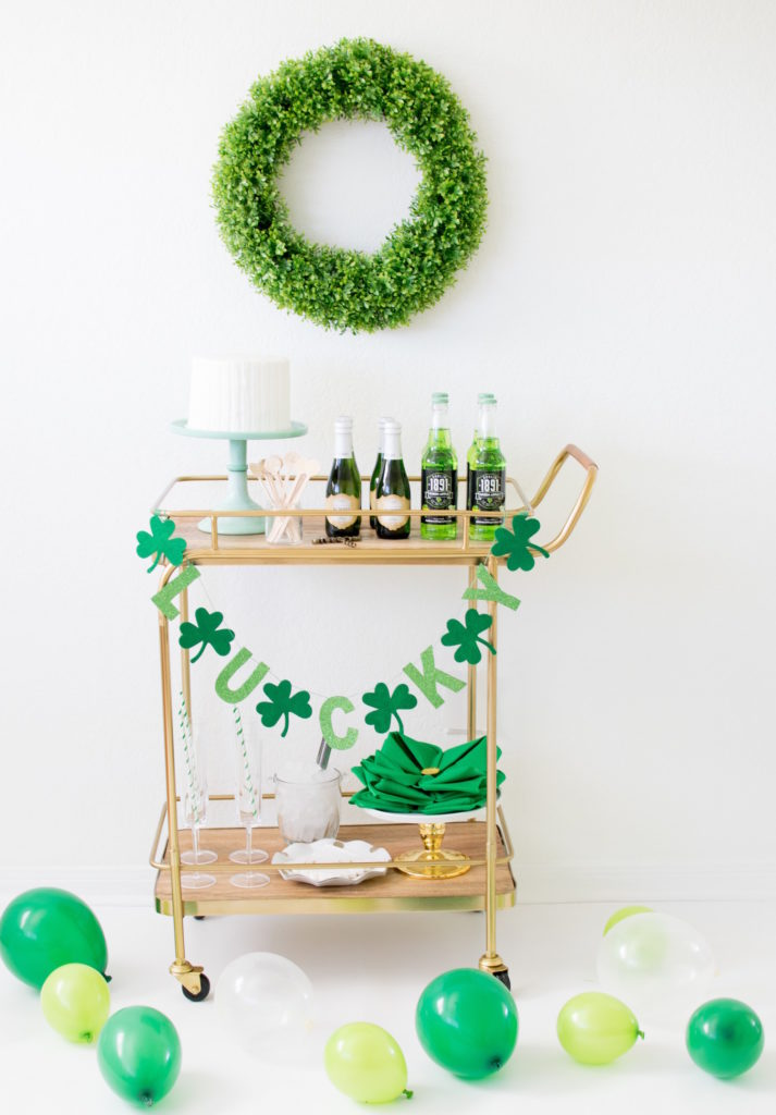 Saint Patricks Day Bar Cart Ideas with Garland