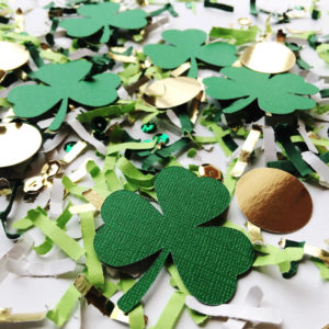 Saint Patricks Day Confetti with Shamrocks and Coins