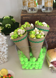 Saint Patricks Day Snack Table Setup with Green Popcorn