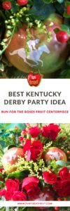 Planning a Kentucky Derby Run for the Roses party? Here's a unique centerpiece with Fun to Eat Fruit branded apples featuring an equestrian, loved by guests and equines, alike!