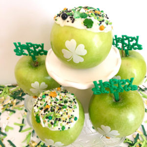 New Healthier Green Apple Cupcakes for St. Patrick's Day or any Holiday Celebration! Fun to Eat Fruit Shamrock Apples for Dessert!