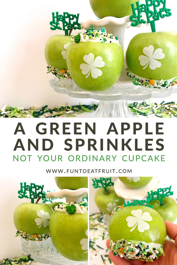 Not Your Ordinary Cupcake—Fun to Eat Fruit Green Apples & Sprinkles for Saint Patricks Day! A Green Apple Cupcake!