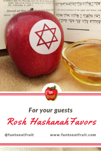For Rosh Hashanah, surprise your guests with Fun to Eat Fruit apple favors! Choose from 2 edible, Judaic designs! We ship the apples washed, imprinted and ready-to-enjoy! www.funtoeatfruit.com #RoshHashanah #RoshHashana #Jewish #Apples #Favors #JewishFood #favorideas