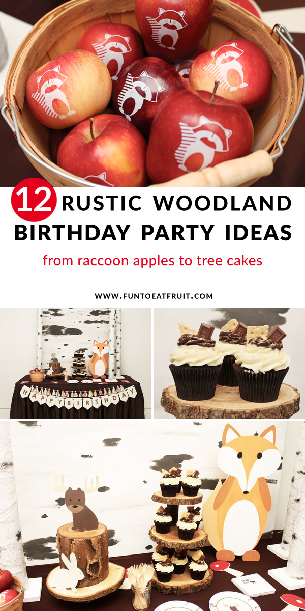 12 Rustic Woodland Birthday Party Ideas … from raccoon apples to tree cakes this is a woodland kids birthday party you don't want to miss. Click for all the woodland party ideas on www.funtoeatfruit.com and see how you can recreate this rustic party. There's s'mores cupcakes, wood cake stands, cute woodland critters, and more. Party Styling by Crowning Details. #woodland #woodlandparty #partydecor #birthdayparty #kidsbirthday #partyideas #partyinspiration #apples #ediblefavors