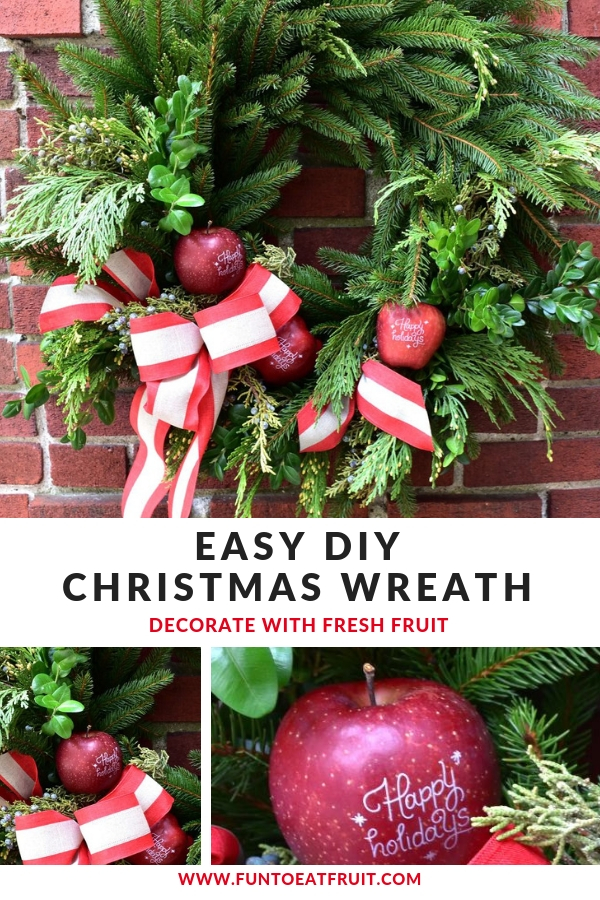 Creating your very own holiday wreath featuring fresh, Fun to Eat Fruit branded fruit for Christmas is easy! Hop over to our blog for more info! www.funtoeatfruit.com Holiday wreath styling and tutorial by GiggleLiving.com #wreath #Christmas #holidaydecor #DIY #BrandedFruit #christmasdecorations