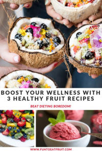 Looking for ways to boost your wellness? Check out our blog post featuring our Pinterest followers favorite healthy fruit recipes! www.funtoeatfruit. Recipes from Designlovefest.com, FromValerieskitchen.com & Joyfulhealthyeats. #healthysnacks #healthyrecipes #wellness #fruit #newyearsresolutions