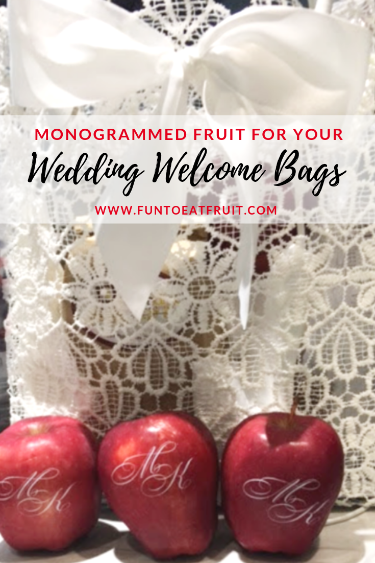 Looking for something unique to put in your wedding guests' welcome bags? Personalized Fun to Eat Fruit apples and oranges are the best items to put in your guests' welcome bags. Click to learn more! www.funtoeatfruit.com #welcomebags #weddingwelcomebags #weddingplanning #weddingideas #fruit #personalized #monograms #weddingfavors