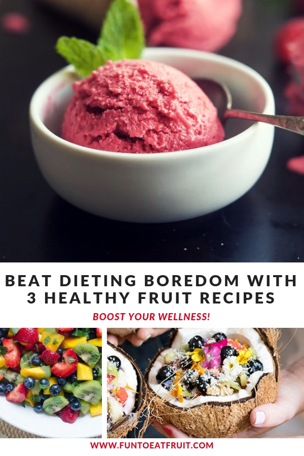 Looking for ways to beat dieting boredom? Check out our blog post featuring our Pinterest followers favorite healthy fruit recipes! www.funtoeatfruit. Recipes from Designlovefest.com, FromValerieskitchen.com & Joyfulhealthyeats. #healthysnacks #healthyrecipes #wellness #fruit #newyearsresolutions