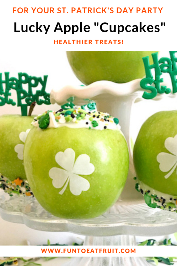 Looking for unique St. Patrick's Day food ideas? How about lucky green apple cupcakes with edible shamrocks imprinted granny smiths from Fun to Eat Fruit? For more info, click on the image! Styling by FestiveFetti; Picks from Baker's Party Shop. www.funtoeatfruit.com #stpatricksday #stpatsday #shamrocks #cupcakes #cupcakesideas