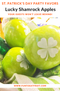 Looking for unique St. Patrick's Day party favors? How about lucky shamrock apple with edible shamrocks imprinted from Fun to Eat Fruit? For more info, click on the image! www.funtoeatfruit.com #stpatricksday #stpatsday #shamrocks #apples #brandedfruit #partyfavorideas #partyideas