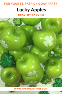 Spread the luck of the Irish at your St. Patrick's Day event with healthy, Lucky Shamrock Apples with edible shamrocks imprinted from Fun to Eat Fruit! For more info, click on the image! www.funtoeatfruit.com #stpatricksday #stpatsday #shamrocks #apples #brandedfruit #partyfavorideas #partyideas