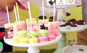 "Check out the desserts and treats from Gia's Little Pink Farm Barnyard Themed Party by Gabriela Events. Who doesn't love macarons and Rice Krispie treats on a stick? Click to see more creative, fun Little Pink Farm party ideas including our personalized ""G"" monogrammed fresh Fun to Eat Fruit apples for decor and party snacks! www.funtoeatfruit.com #barnyardbirthdaypartygirl #girl1stbirthdaypartyideas #barnyardthemedparty #farmbirthdaypartyideas #barnyardbirthdaypartyideas #brandedfruit #kidspartyideas"