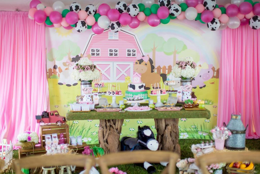 "Welcome to Gia's Little Pink Farm Barnyard Themed Party! Click to see Gabriela Events' creative, fun kids party including our personalized ""G"" monogrammed fresh Fun to Eat Fruit apples for decor and favors! www.funtoeatfruit.com #barnyardbirthdaypartygirl #girl1stbirthdaypartyideas #barnyardthemedparty #farmbirthdaypartyideas #barnyardbirthdaypartyideas #brandedfruit #kidspartyideas"