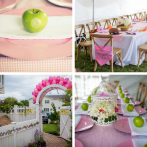 "It's all in the details! Check out these super cute party ideas from Gia's Little Pink Farm Barnyard Themed Party by Gabriela Events. Click to see more creative, fun Little Pink Farm party ideas including our personalized ""G"" monogrammed fresh Fun to Eat Fruit apples for decor and favors! www.funtoeatfruit.com #barnyardbirthdaypartygirl #girl1stbirthdaypartyideas #barnyardthemedparty #farmbirthdaypartyideas #barnyardbirthdaypartyideas #brandedfruit #kidspartyideas"