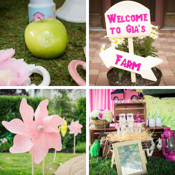 "Welcome to Gia's Little Pink Farm Barnyard Themed Party! Click to see Gabriela Events' creative, fun Little Pink Farm party ideas including our personalized ""G"" monogrammed fresh Fun to Eat Fruit apples for decor and favors! www.funtoeatfruit.com #barnyardbirthdaypartygirl #girl1stbirthdaypartyideas #barnyardthemedparty #farmbirthdaypartyideas #barnyardbirthdaypartyideas #brandedfruit #kidspartyideas"