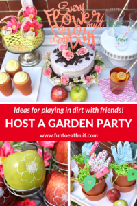 When was the last time you played in the dirt with friends? Check out this Garden Potting Party from GiggleLiving.com for fun party ideas including personalized, branded Fun to Eat Fruit apples imprinted with edible flowers to potted cupcakes and a cake covered with crushed cookie dirt! Click for details. www.funtoeatfruit.com #garden #partyideas #kidspartyidea #spring #summer #gardenparty #ediblepartyfavors #partyfavors