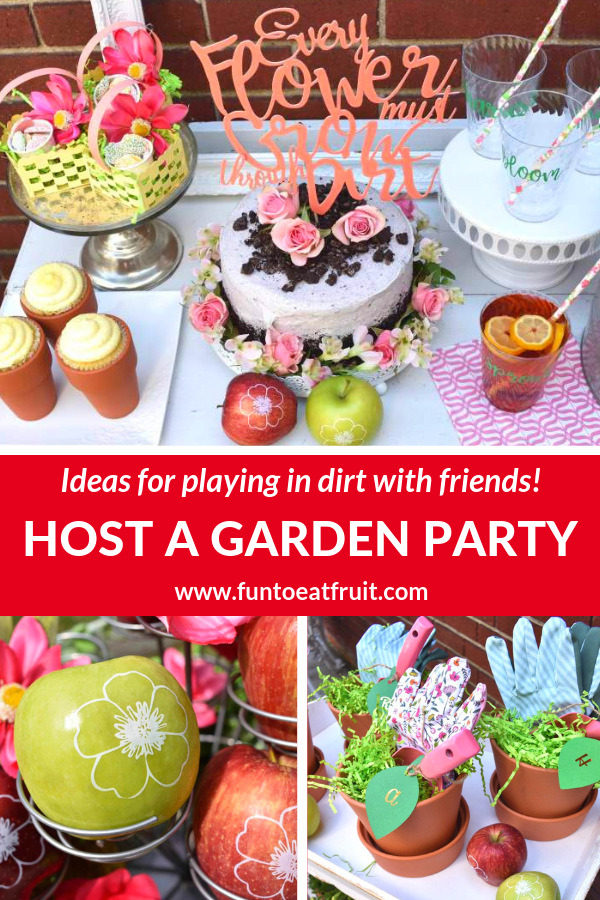 When was the last time you played in the dirt with friends? Host a Garden Potting Party! Click to read our blog for creative party ideas from GiggleLiving.com including personalized, branded apples by Fun to Eat Fruit imprinted with edible flowers to potted cupcakes and a cake covered with crushed cookie dirt! www.funtoeatfruit.com #garden #partyideas #spring #summer #gardenparty #brandedfruit #brandedapples #ediblepartyfavors #favors #partyfavor