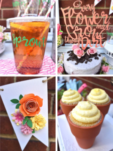 Looking for a fun spring or summer party idea? Host a Garden Potting Party with your friends! For fun party ideas including personalized, branded Fun to Eat Fruit apples imprinted with edible flowers to potted cupcakes and a cake covered with crushed cookie dirt! Designed by GiggleLiving.com. Click for details! www.funtoeatfruit.com #garden #partyideas #kidspartyidea #spring #summer #gardenparty #ediblepartyfavors #partyfavors #brandedfruit #brandedapples