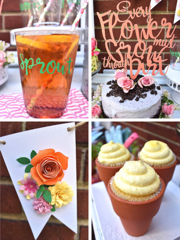 Looking for a fun spring or summer party idea? Host a Garden Potting Party with your friends! For fun party ideas including personalized, branded Fun to Eat Fruit apples imprinted with edible flowers to potted cupcakes and a cake covered with crushed cookie dirt! Party designed by GiggleLiving.com. Click for details! www.funtoeatfruit.com #garden #partyideas #kidspartyidea #spring #summer #gardenparty #ediblepartyfavors #partyfavors #brandedfruit #brandedapples