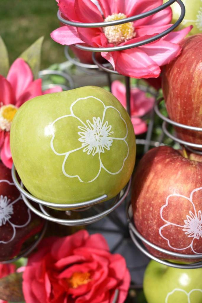 Personalized Fun to Eat Fruit apples imprinted with edible flowers are the perfect favors or snacks for your garden party! Click for more creative garden party ideas from stylist GiggleLiving.com on our blog. www.funtoeatfruit.com #garden #partyideas #spring #summer #gardenparty #ediblefavors #ediblepartyfavors #brandedfruit #brandedapples