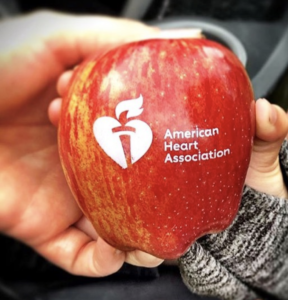 Fun to Eat Fruit branded apple for American Heart Association Race Giveaway