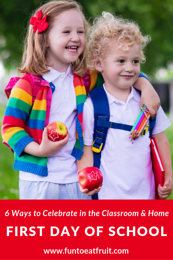 Looking for some back to school fun in the classroom or at home for your kiddos? We're sharing 6 ideas for parents and teachers to celebrate the first day of school, from scavenger hunts to custom, Fun to Eat Fruit imprinted green apples for snacking and lunch boxes! www.funtoeatfruit.com #backtoschoolideas #classroomideas #healthysnacks #firstdayofschoolactivities #schoollunchideas #apples #preschool #kindergarten #elementaryschool #fieldday