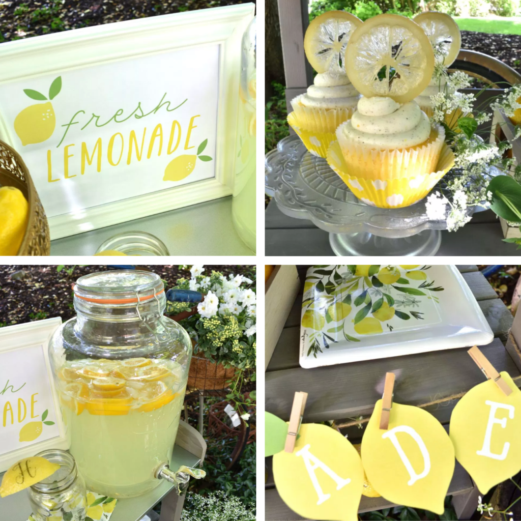 Lemonade stands are trending these days at summer parties and events! If you're looking for a new twist on the old fashioned lemonade stand for your next summer party, read tips from Lori, creative party planner from GiggleLiving! www.funtoeatfruit.com #lemons #lemonade #lemonadestand #cupcakes #summerpartyideas #partyideas #masonjars