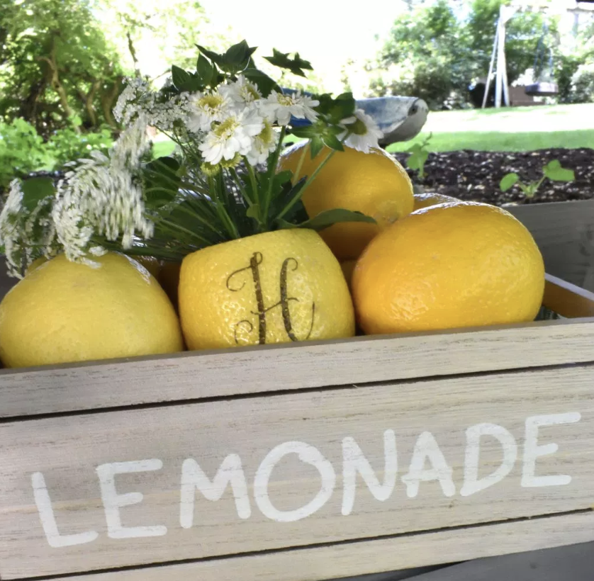 Summertime and the living is easy! Perfect for setting up an old-fashioned, lemonade stand for your next party! Read all about how to use Fun to Eat Fruit monogrammed lemons in 4 amazing ways, including as a natural flower vase! www.funtoeatfruit.com #lemons #lemonade #lemonadestand #summerpartyideas #partyideas #flowers #vases