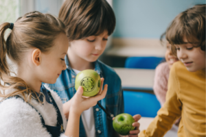 The first day of school marks a new and exciting beginning. We're sharing 6 first day of school tips chock full of ideas to make it special, from scavenger hunts to custom, Fun to Eat Fruit imprinted green apples! www.funtoeatfruit.com #backtoschoolideas #classroomideas #healthysnacks #firstdayofschoolactivities