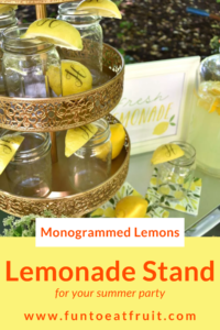 Summertime and the living is easy! Perfect for setting up an old-fashioned, lemonade stand for your next party! Read our post for a new twist on the old fashioned lemonade stand from Lori of GiggleLiving.com. She shows us how to use Fun to Eat Fruit monogrammed lemons in 4 amazing ways! www.funtoeatfruit.com #lemons #lemonade #lemonadestand #summerpartyideas #partyideas #buffetideas #garnishes