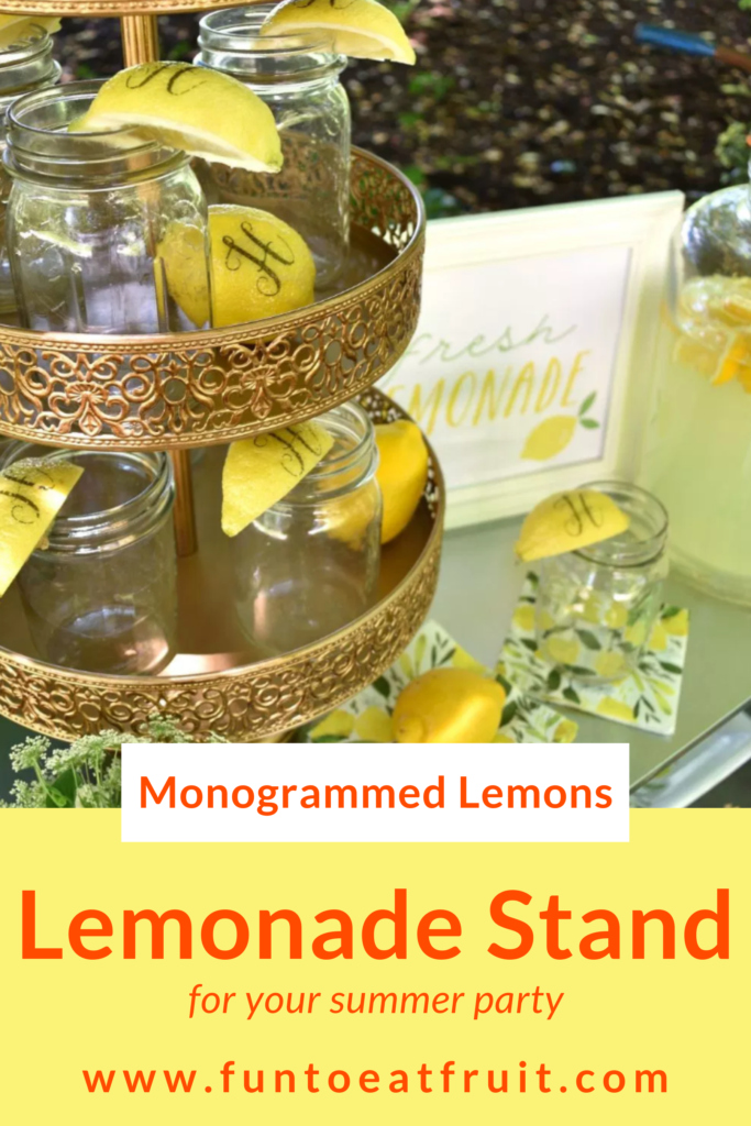 Summertime and the living is easy! Perfect for setting up an old-fashioned, lemonade stand for your next party! Read our post for a new twist on the old fashioned lemonade stand from Lori ofGiggleLiving.com.She shows us how to use Fun to Eat Fruit monogrammed lemons in 4 amazing ways! www.funtoeatfruit.com #lemons #lemonade #lemonadestand #summerpartyideas #partyideas #buffetideas #garnishes