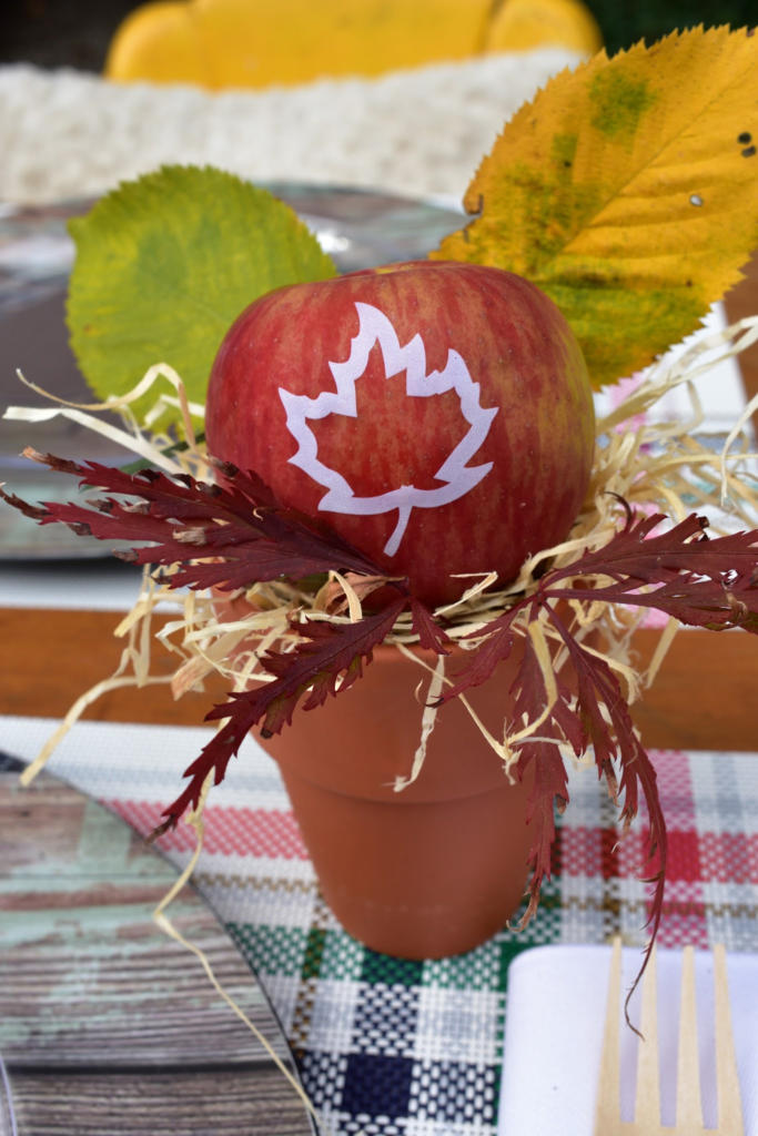 Looking for a super cute DIY favor for your fall party? Click to learn how to create fresh, healthy apple favors for your guests! We worked with party stylist at GiggleLiving.com for easy-to-do fall party ideas! www.funtoeatfruit.com #apples #favors #fallpartyideas #fallpartyfood #personalizedfavors #thanksgivingdinnertable