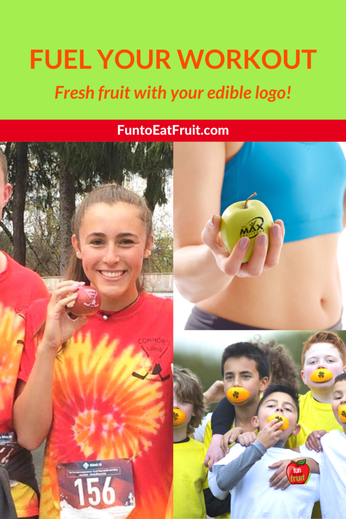 Fruit is an awesome choice to fuel your workout. Did you know Fun To Eat Fruit can imprint motivating phrases—or even your team or health club's logo—on apples, oranges or pears? And our custom imprints are completely edible! www.funtoeatfruit.com Click to read more! #fitness #workout #healthysnack #Fruit #swag #branding #ediblefavors #running #nutrition #raceswag #weightlifting #teams #tennis #soccer #5k #healthclub #spa