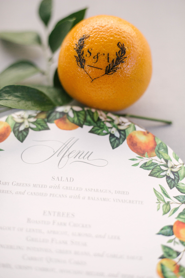 For beautiful examples of carrying out your wedding theme, read about a special citrus inspired wedding by Chicago's Savvy Rose Events. Shown here are our monogrammed Fun to Eat Fruit citrus favors and a matching wedding meal guest menu. www.funtoeatfruit.com #dreamwedding #weddingideas #weddingfavors #weddingreceptionideas #favorideas #citrus #ediblefavors #weddingmenu #monograms
