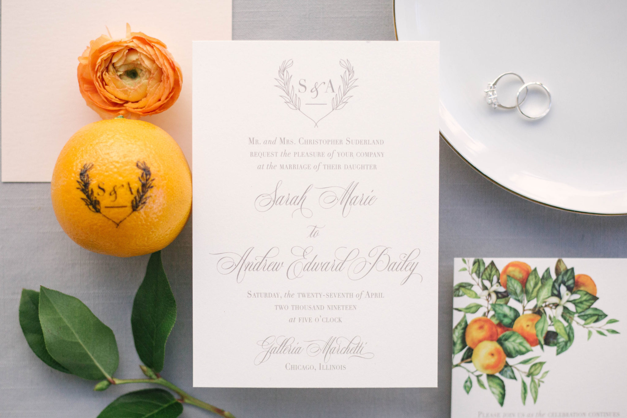 Citrus Wedding Inspiration Monogrammed Orange Fun to Eat Fruit Diamond Ring