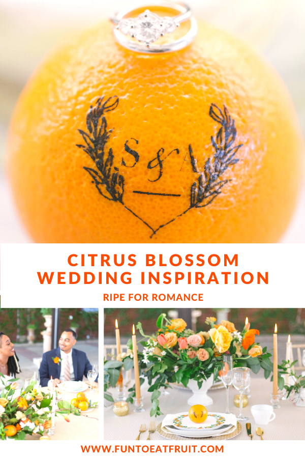 Which wedding color palette instantly inspires joy? Learn how a citrus palette with monogrammed Fun to Eat Fruit, makes a wedding reception warm and wonderful! www.funtoeatfruit.com #dreamwedding #weddingideas #weddingfavors #weddingreceptionideas #favorideas #citrus #ediblefavors #monograms